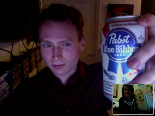 drinking with an ex-boyfriend/amazingly good friend via video chat (and 3 hours apart) as the last minutes of valentine's day pass. and damn, did that make me laugh and smile. thanks, coy. :)
