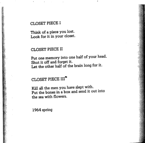 skullvomit:  sarahjeanalex:  Closet Piece, from Grapefruit by Yoko Ono  Goddamnit Yoko Ono is the best.