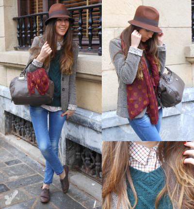 lookbookdotnu:  Dark green and burgundy (by Silvia Cuesta)