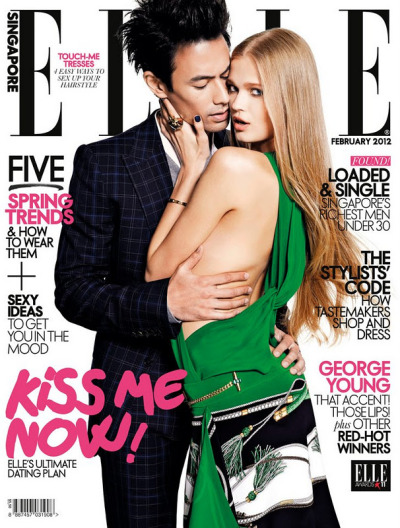Russian model with Asian man on the cover for Singapore ELLE