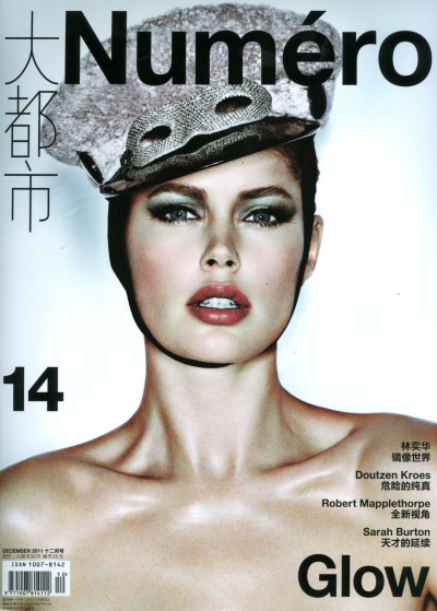 DOUTZEN KROES features on the cover of the december issue of numero China photographed by Tiziano Magni and styled by Joseph Carle