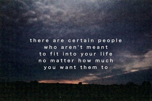 There are certain people who aren't meant to fit into your life no matter how much you want them to.