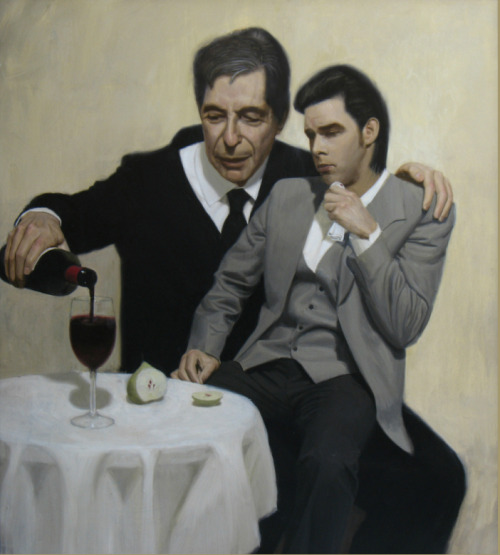 meandthedevil:  Leonard Cohen consoles Nick Cave Painting by Ben Smith   haha