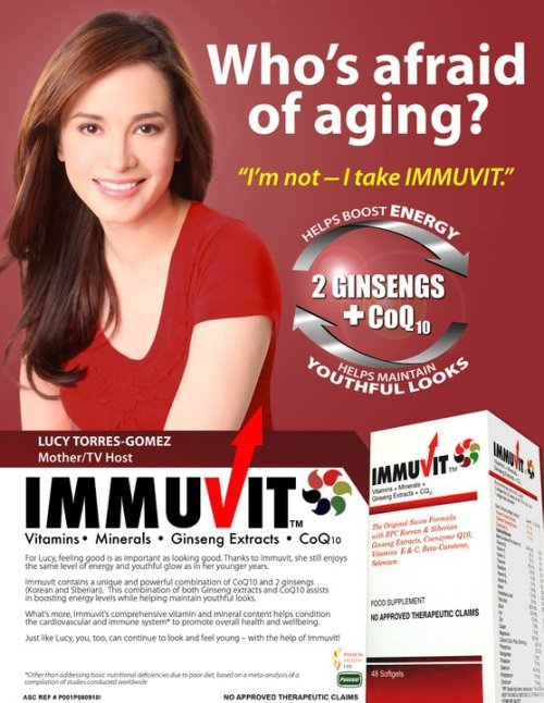 Lucy Torres-Gomez, a proud Immuvit ambassadress, is a Filipina Congresswoman, actress, television host, and columnist. She is widely known for her intelligence, beauty, faith in God, dancing prowess, and utmost love for her family. Find out more about Immuvit at http://immuvit.com.ph
