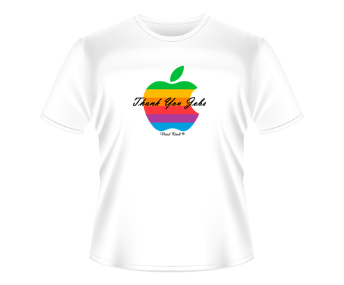 "Camiseta ""Thank You Jobs #2"" Veja: Tradicional e Babylook."