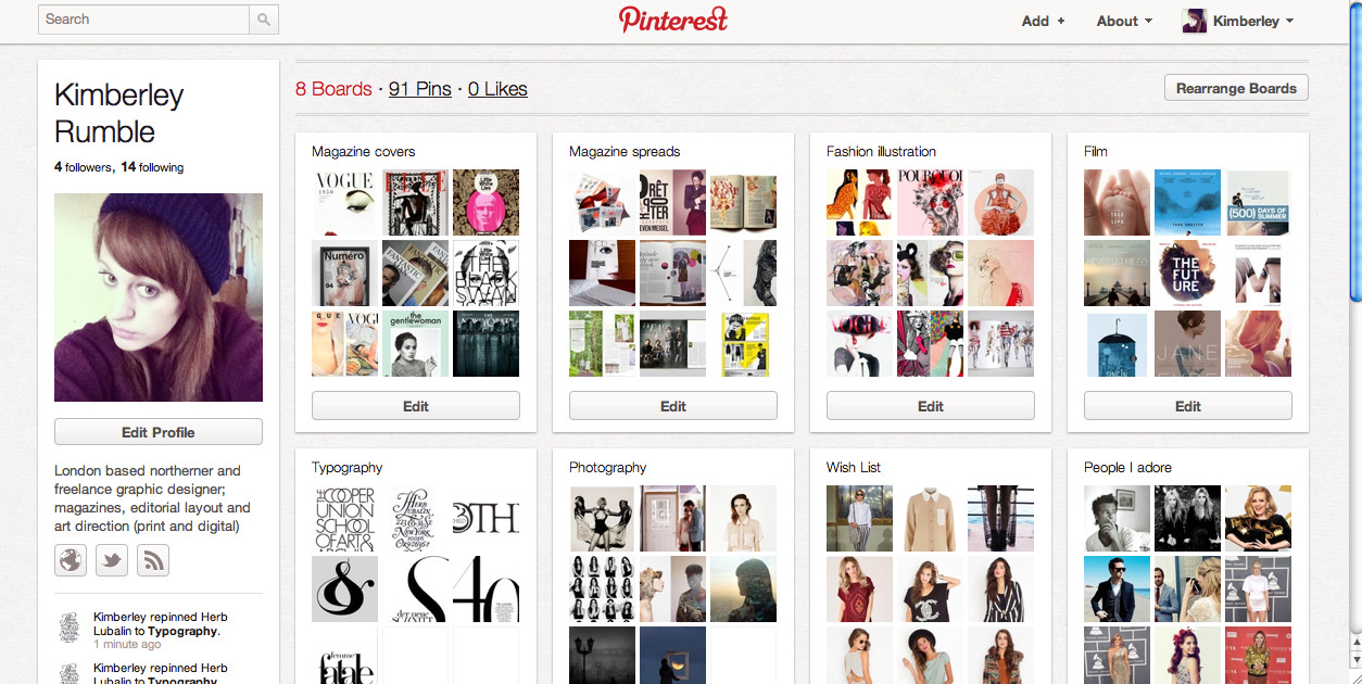 I now have Pinterest! A virtual noticeboard and a place to share all kinds of images and collate them onto boards with themes of your choice. With my love for collecting and organising all my inspirations and visuals that i love, I can tell already i'm going to be addicted. See my boards here. I've only just started so expect to see a lot more. Request an invite or let me know and i'll send you one. Get pinning!