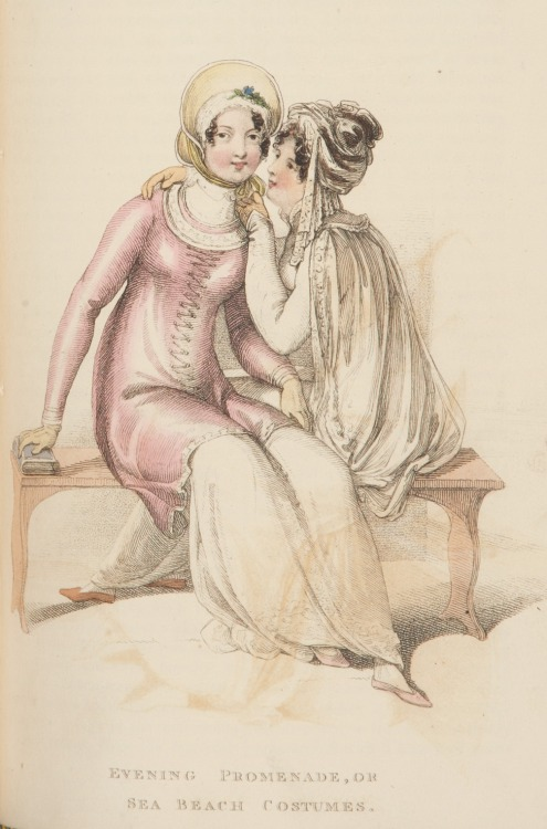"Ackermann's Repository, Evening Promenade or Sea Beach Costumes, October 1810.  What secrets are they sharing?  If I was the girl in the white, it would be ""I will cut you if you don't give me that awesome pink overdress"" (The overdress is described as an ""Egyptian Tunic"" in the description)."