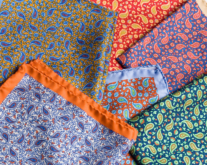 Berg&Berg paisley silk pocket squares for spring.