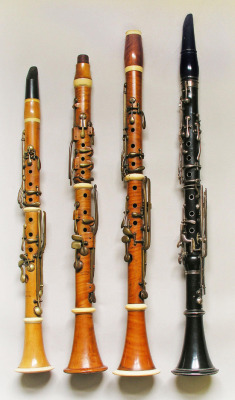 The Müller system (4060) Clarinet in C; 13-key Müller-type. Maker: David, France, probably Paris, c 1840.  (111) Clarinet in Bb; 14-key Müller type. Maker: F.G.B. Bruggemann, Leyden, Holland, c 1860. (132) Clarinet in A; enhanced Müller type. Maker: Simiot and Brelet, Lyon, c 1845. (115) Clarinet in Bb/A; 20 keys. Maker: J.F. Simiot, Lyon, c 1827.   From the Edinburgh University Collection of Historic Musical Instruments