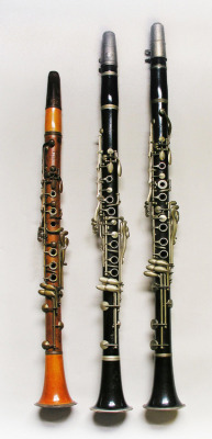 Buffet System Clarinets (120) Clarinet in Bb; Boehm system (17 keys, 6 rings). Maker: Tournier & Goumas, Paris, c 1857. (141) Clarinet in A; Boehm, No. 6 system (19 keys, 7 rings). Maker: Buffet Crampon & Cie., Paris, c 1923. (129) Clarinet in Bb, Boehm No. 7 system to Eb3 (20 keys, 6 rings). Maker: Buffet Crampon & Cie., Paris, c 1930.  From the Edinburgh University Collection of Historic Musical Instruments