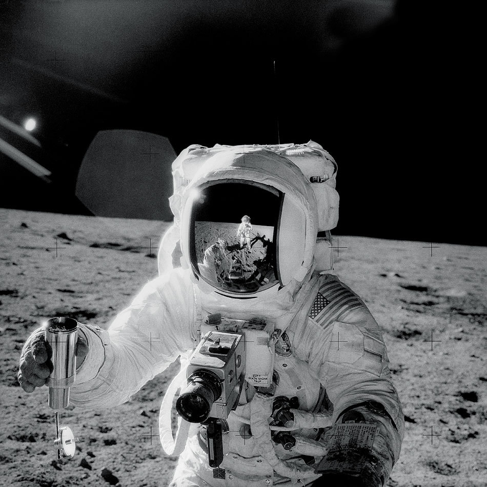 "n-a-s-a:  Apollo 12: Self-Portrait  Credit: Charles Conrad, Apollo 12, NASA In November of 1969, Apollo 12 astronaut-photographer Charles ""Pete"" Conrad recorded this masterpiece while documenting colleague Alan Bean's lunar soil collection activities on the Oceanus Procellarum."