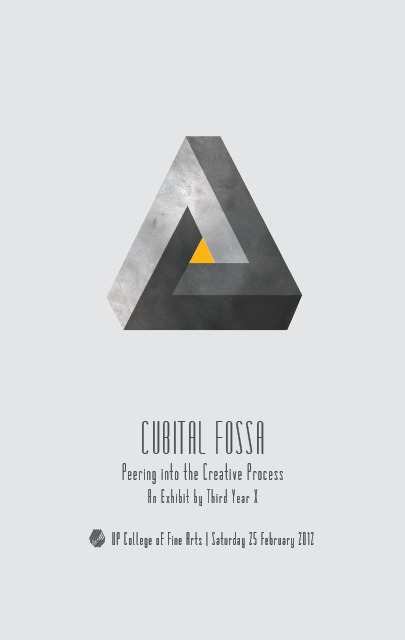 "fu-fu:  UP CFA Third Year VC Block X invites you to CUBITAL FOSSA: Peering into the Creative Process  The exhibit explores the narrative of the cyclical nature of an artist's creative journey. Walk through the artist's internal processes beginning at the source,  delving into introspection and finally emerging at the point of an  artwork's realisation.  UP College of Fine Arts | Saturday 25 February 2012 | Reception: 9 a.m.  A painting of mine is part of this exhibition. I did not sleep just to make this deadline. So please, support sleepless artists. Haha! Also, go to this! Because art!By the way, we won't be the only exhibit that day, I'm sure. It'll be during the college's Fine Arts fair. So going to UP CFA on that day will not definitely be a waste. Art fairs are fun guys, especially for the ""aesthetically inclined"" (that is a thing now). UP CFA is still the premier art college in the Philippines. Sure some of the work will be subpar, some will exhibit raw talent, but most definitely you'll find more than a gem or two and that's one of the best parts of student exhibitions. Anyway, based on experience, the CFA Art Fair is just one of the best days each year at my college and it'd be nice if you could experience it. :) Also, bacon. Just saying. Maybe you guys will spread this around if I said bacon. Everyone reblogs bacon. Bacon loves you!"