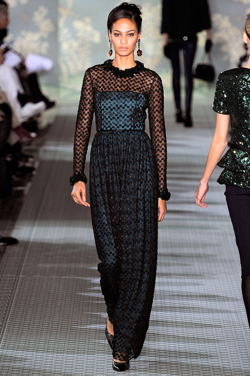 E is for Evening Joan Smalls in a confection of embroidered tulle and chiffon — the finale to our Fall 2012 runway show