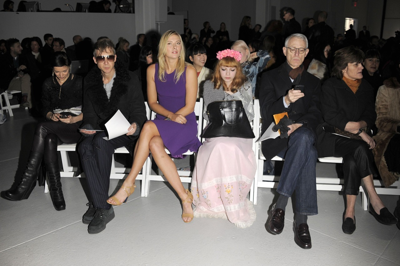 "Mr. Jefferson Hack, Maria Sharapova, and Tavi occupy front row in Rodarte. I've known Maria for about seven years, and she has already done a LOT this year. She reached a Grand Slam final in Oz, then went to Moscow to play Fed Cup, stop at a tourney in Paris, and then come to New York for few shows. ""It's my first Rodarte show, which is thrilling,"" she said before meeting Alex De Betak on the frontlines. She's wearing Prabal Gurung, and Cole Haan accessories here in case you're wondering."