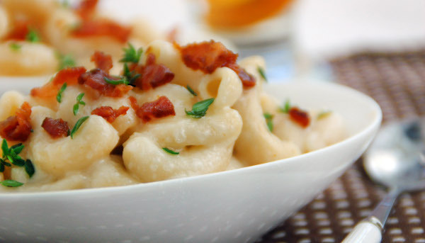 Three-Cheese Macaroni and Cheese with Champagne and Pancetta (via 30 Days 30 Ways with Macaroni & Cheese)