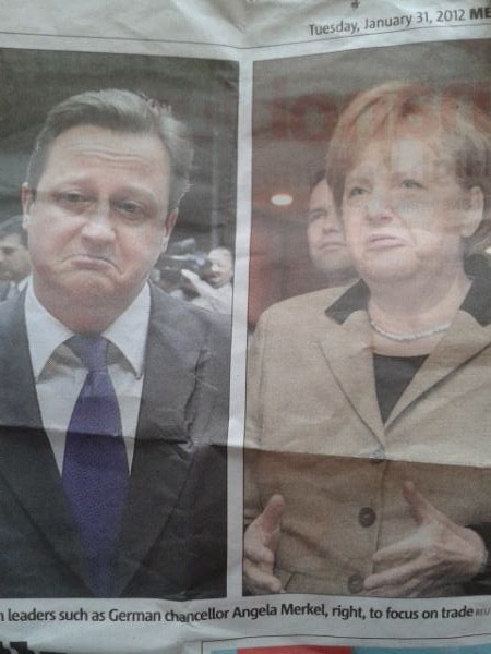 Angela Merkel bought David Cameron a really thoughtful and quite expensive birthday present but she left it on the tube, and now he thinks she forgot and is just saying that.