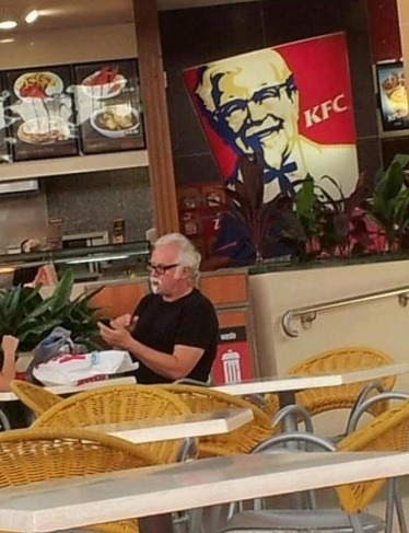 thedailywhat:  TLL of the Day: Little known fact: Colonel Sanders makes every piece of Kentucky Fried Chicken himself. [copyranter.]