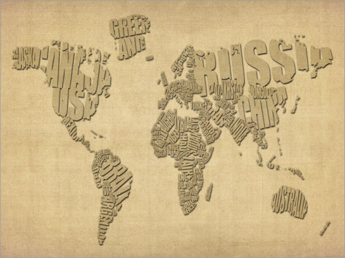 Typographic Text Map of the World Map Art Print by artPause on Etsy
