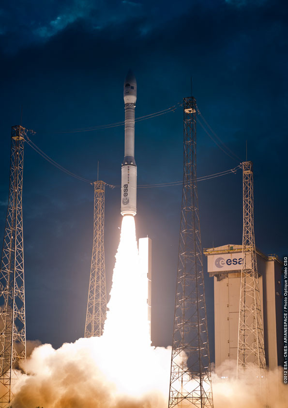 Liftoff for Vega VV01 On 13 February 2012, the first Vega lifted off on its maiden flight from Europe's Spaceport in French Guiana. Onboard were nine satellites; LARES, AlmaSat-1 and seven CubeSats from European universities.