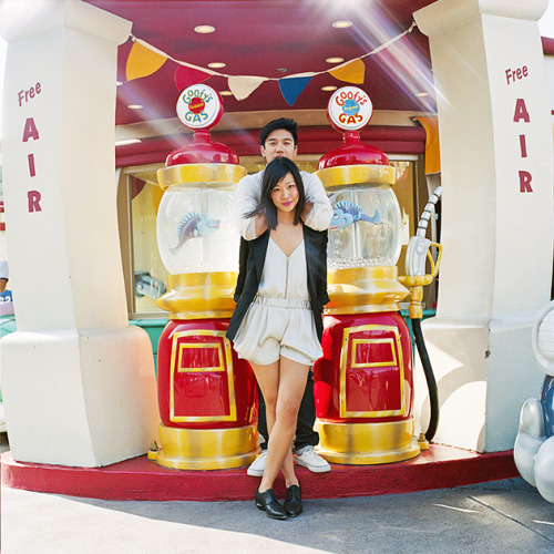 "claudia & brian // disney land - LA,CA // hasselblad 200cm i got a free button/pin this day. it said ""first visit to disneyland"" :D full series: http://www.davidlaiblog.com/claudia-brian-los-angeles-ca/"