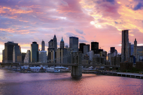 new-yorkcity:  Sunset over Lower Manhattan.  Sunrise?
