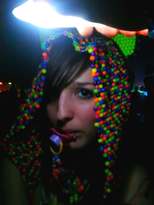 me from last friday . my friend made a hood totally out of beads and he put it on my head and took a picture… he thinks its a good pic. but i disagree ha