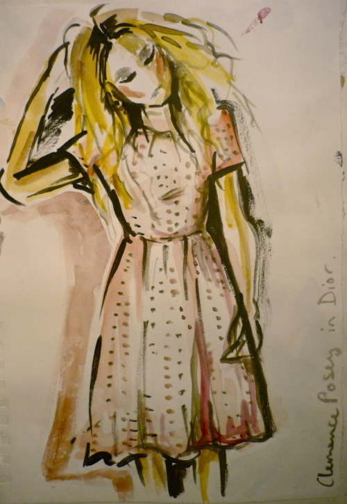 myfriperie:  Clemence Posey in Dior for ELLE. Watercolour illustration inspired by Rene Gruau.