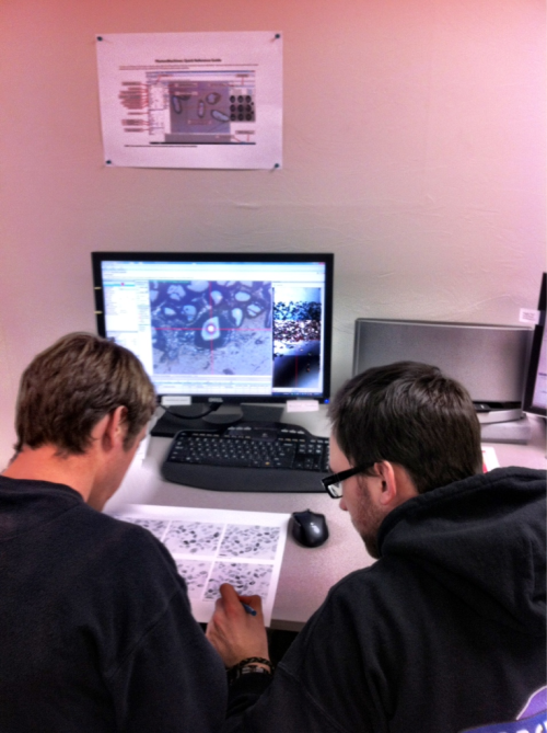 Kraig and Cody studying the Zircon mount