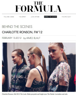 CHARLOTTE RONSON / THE FORMULA BLOG
