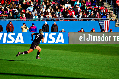 Ali Riley of the New Zealand Women's National Team going beastmode.  USWNT v. New Zealand - Feb. 11 Fisco, TX