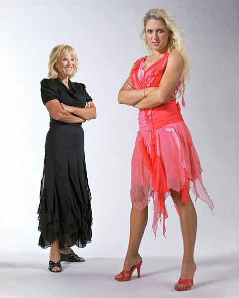 Natalie Gulbis, right, with three-time major champion Jan Stephenson during a 2006 photo shoot for SI. Stephenson was one of the first LPGA players to do modeling shoots, and Gulbis was one of three athletes recently featured in an SI Swimsuit spread. RITTER: Gulbis on her body painting shoot for SIGALLERY: More body painting shots of Natalie (Credit: Darren Carroll/SI)