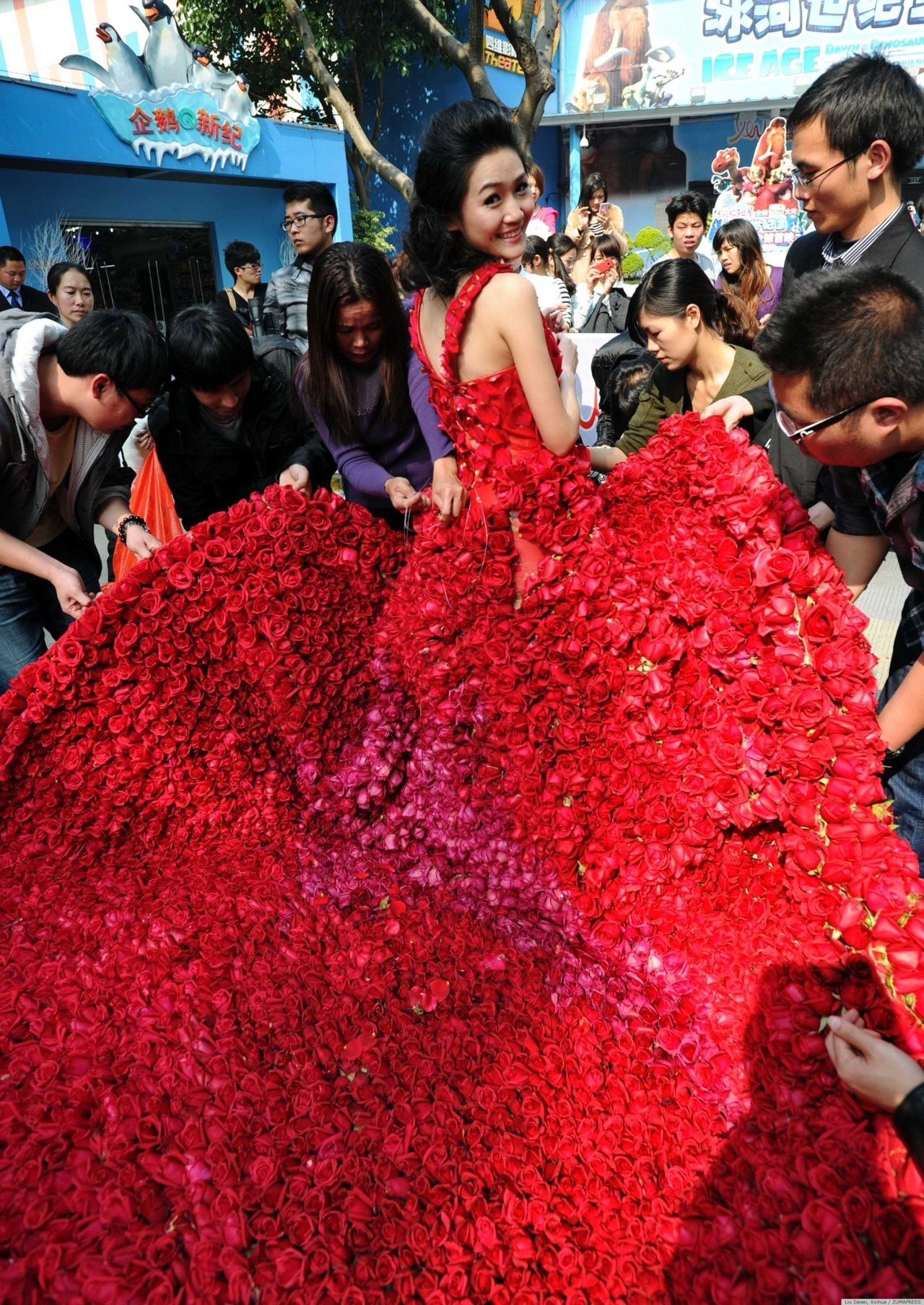 loveisallthingsmaroon:  Chinese Man Proposes With Dress Made Of 9,999 Roses  this is so incredible