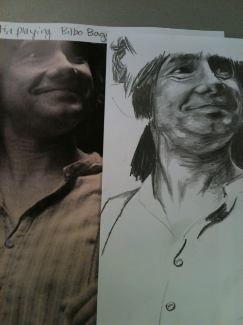 lennontits:  Drawing Martin freeman as bilbo baggins instead of doing school work xD