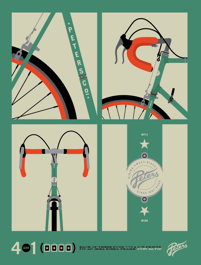 """riding sweet bikes since way back"" - clean poster illustrations"