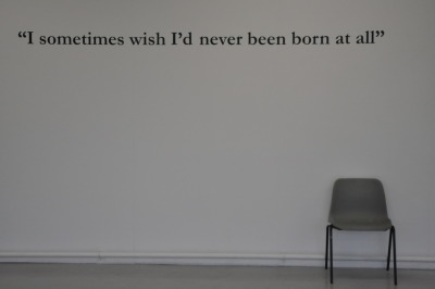 trevorhsmith:  UNTITLED (I sometimes wish) (2011) I was at my wife's Christmas work party, the karaoke machine was taking a beating, and at the end of the night they all got up to sing Queen's Bohemian Rhapsody.  There was something profound about these workers, many of whom had spent the evening complaining to me about how much they disliked their jobs, finally letting it all out, without a hint of irony, when they reached the line, 'I sometimes wish I'd never been born at all' trevorhsmith