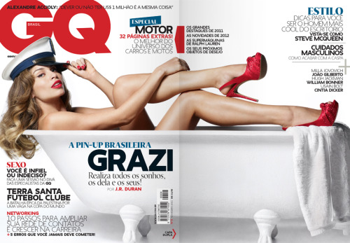 [Gate folder]  Cover of GQ Brasil #08 (November 2011). Grazi photographed by J.R. Duran, in São Paulo. In my opinion, the best cover I've done at GQ. Grazi is naturally beautiful and spontaneus, and I think this can be perceived on the photo shooting. It's a doble cover (with gate folder), but it works perfectly only with the front cover.