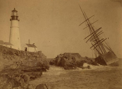 noflattery:  A.C. Maguire, at Portland Headlight, Cape Elizabeth, ca. 1887