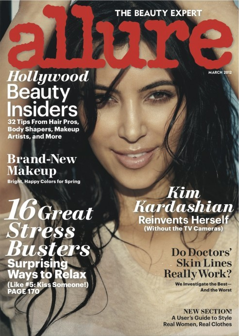 Kim Kardashian looking natural on the cover of Allure March issue