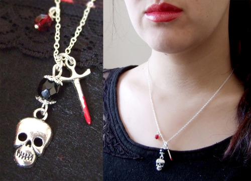 Skull with knife or sword necklace. Originally thought about making a snow white inspired necklace, but it turned out to be more of a dark / goth / vampire style necklace. And with all of the Twilight, Vampire Diaries and true blood watching i've been doing lately, i guess it just came from that. You can get it here:http://www.etsy.com/listing/93075135/skull-sword-and-crystals-silver-charm or see the rest of my etsy shop here:http://www.etsy.com/shop/yael360