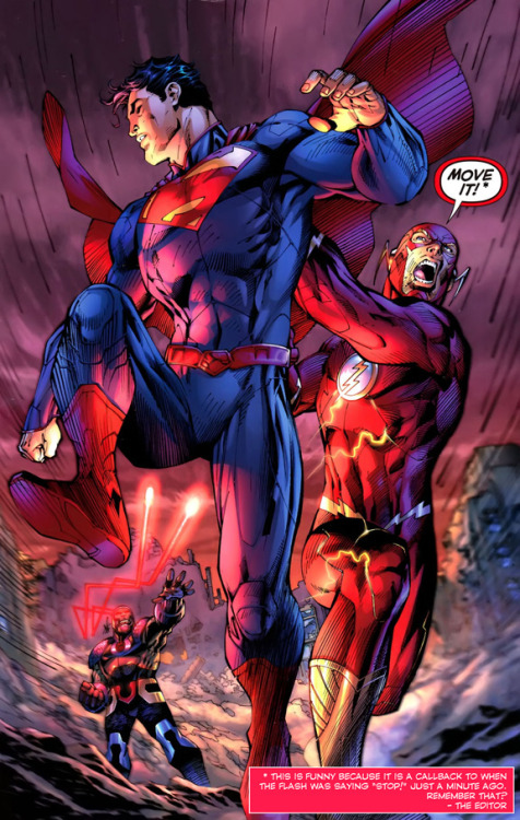 Superman and The Flash from Justice League #5 (2012) by Geoff Johns and Jim Lee.