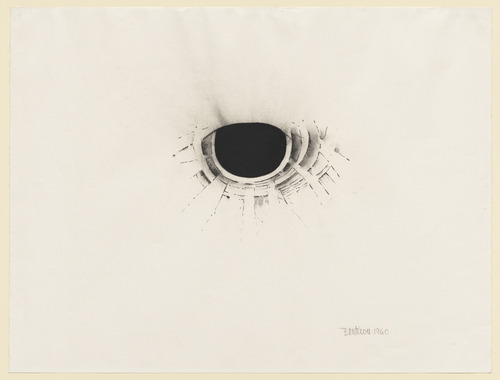 "contemporary-drawing:  Lee Bontecou, Untitled, 1960. Charcoal and pencil on paper, 19 x 25 1/8"" (48.4 x 63.8 cm). © 2012 Lee Bontecou"