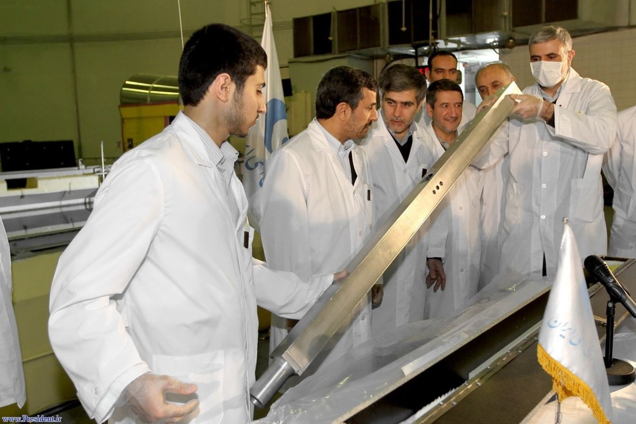 "Iran's President Mahmoud Ahmadinejad (2nd L) attends the unveiling ceremony of new nuclear projects in Tehran February 15, 2012. ""The era of bullying nations has passed. The arrogant powers cannot monopolize nuclear technology. They tried to prevent us by issuing sanctions and resolutions but failed,"" President Mahmoud Ahmadinejad said in a live television broadcast.   ""Our nuclear path will continue."" [Photo: REUTERS/President.ir/Handout] Read more: Iran trumpets nuclear advances, deepening standoff with West"