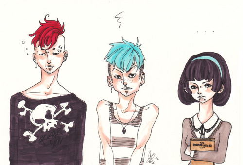 \scans some stuffMy new sibling characters ( ´ v `). They don't have any names yetttt. But the oldest is the one on the left, and the girl is the youngest.I fell in love 4ever with the middle kid, thx.