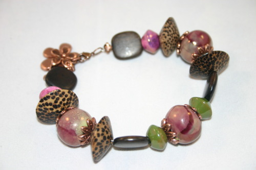 Funky bracelet with bamboo beads