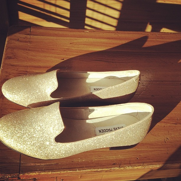 new shoes 😍 snow needs to melt asap! #steve #madden #gold #shoes #flats #glitter #sparkly #girly #summer #shiny #shadow #light #sunshine  (Taken with instagram)