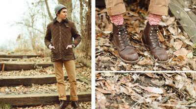"On Grant: Quilted brown moleskin jacket by Barbour; the ""Reed"" duck canvas pant by Baldwin Denim; brown leather Iron Ranger boots by Red Wing; camp socks by J.Crew. -The Midwestyle"