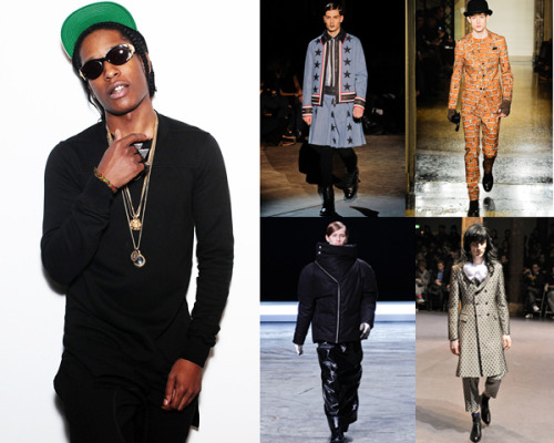 "A$AP Rocky on European Fashion Week: ""Dope as F@#!k"" Here are our top five favorite quotes from the GQ A$AP Rocky interview, in which the rapper plays fashion police and weighs in on Raf Simons, Rick Owens, and many, many more: 1. On Moschino: ""He looks like that character from Batman with all the question marks around him."" 2. On Raf Simons: ""I think that's dope as fuck."" 3. On Moncler Gamme Bleu: ""Thom Browne is a fuckin' maniac. I love it."" 4. On Jean Paul Gaultier: ""Zippers are in this season. Zippers and gators. Everything snake skin and iguana skin—all that is in right now."" 5. On Kris Van Assche: ""He looks like he could be one of the Men in Black, a cool one, because he has blue pants."" Read the rest here."