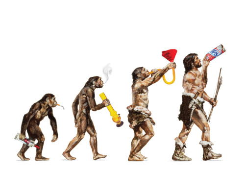 newsweek:  Love this 'evolution of addiction' illustration! Designed by Benjamin Ritter for our mag story on whip-its:  Addictions to thrills, drugs, and alcohol result from an imperfect compromise between something very old (dating back hundreds of millions of years, long before humans existed) and something new (dating back no more than a few hundred thousand years, an eye blink in evolution). What's old is our reflexive systems. For most of human prehistory, short-term thinking was practically the only thing that mattered: Predator or prey? Fight or flee? Early hominids that made snap decisions like that effectively survived; those that didn't perished. Much newer is a different system, one that deliberates and reflects. The trouble is that reflexive systems, because they are older, tend to dominate. If we see a chocolate cake, we eat it, no matter what we might have said at New Year's about dieting.  [Newsweek]