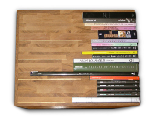Book Table by Lisa Finster. Hmm, if there's a way to integrate books into every single piece of furniture in our apartment, I maaaaay start buying print books again.