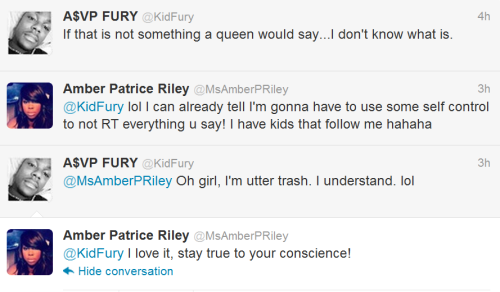 amuzed1:  Amber and Kid Fury are Twitter pals? LMAO, I'd love to see them have an unfiltered conversation.   and my day has been made. Amber's cool as hell.